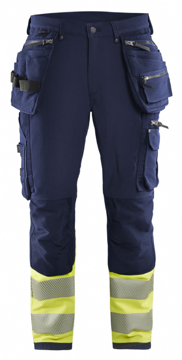 Blaklader 1993 4-Way Stretch Hi Vis Work Trousers (Navy / Hi Vis Yellow)